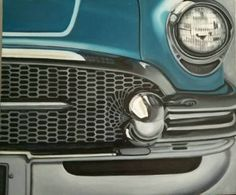 Buy 50's Buick, a Oil on Canvas by Louise Montillio from United States. It portrays: Car, relevant to: shine, blue, vintage, collector, 50's, buick,  teal,  metal, automobile I wanted to bring the viewer into my excitement, necessitating a close-up view. My love of metal and color was only enhanced by the subject matter, an elegant, vintage Buick.  A great fan of detail, I chose to paint it in a rich, authentic Ocean Blue.