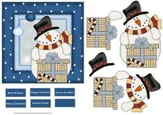 snowmans present at Christmas card on Craftsuprint designed by Angela Wake - snowman's present at Christmas card with decoupage and sentiment tags - Now available for download!
