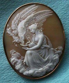 Cameo…Hebe Feeding the Eagle of Zeus, Italy, 1860.