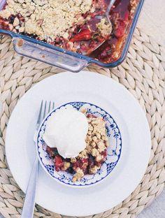 strawberry rhubarb basil crumble   bird is the word