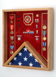 """Military Medals and Flag Display Case Shadow Box - For 3x5 Flag - 18""""w x 20""""h x…"""