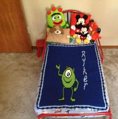 Mike from Monster Inc crochet blanket with name