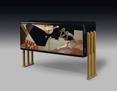 A RADIO CABINET, CIRCA 1930 lacquered wood, with gilt-metal legs in.) high, 31 in.) wide, 11 in.) deep signed in lacquer Jean Dunand. Art Deco Furniture, Cabinet Furniture, Painted Furniture, Furniture Design, Furniture Board, Buffets, Art Nouveau, Art Et Architecture, Muebles Art Deco