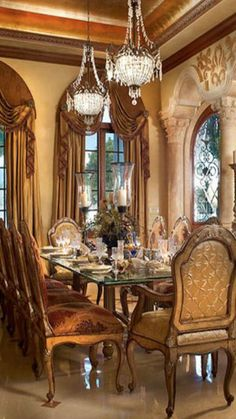 Superbe French Chateau, Tuscan Dining Rooms, Drapery Ideas, Mediterranean Decor, Old  World, Luxury Jewelry, Furnitures, Kitchen Ideas, Breakfast