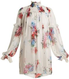 DOLCE & GABBANA Floral-print smocked-yoke silk-chiffon top