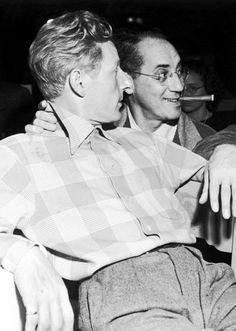 Danny Kaye and Groucho Marx at Warner Bros Studios, 1945.