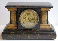 Vintage Wm. L. Gilbert Clock Co. Marbleized Wood Mantel Clock, circa 1890-1910