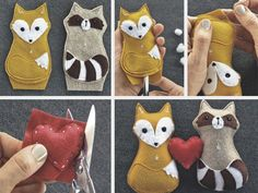 Fox and Racoon love ~ DIY-Anleitung: Tiere aus Filz nähen via DaWanda.com