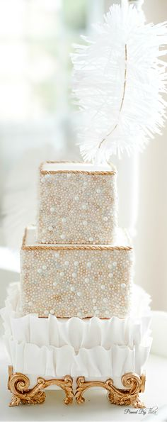 Wow check out this white and gold #weddingcakehttp://www.pinterest.com/theatoria/wedding-great-gatsby/