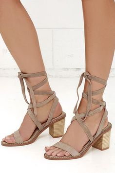 Chinese Laundry Calvary Dust Grey Suede Leather Lace-Up Sandals at Lulus.com!