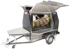 1 part grill, 1 part TV display area. This Trailblazer BBQ trailer is the ultimate marketing machine. Cook for clients whilst keeping them entertained with your marketing material Tv Display, Made In Uk, Design Development, Trailers, Bespoke, Baby Strollers, Bbq, Entertaining, Cook