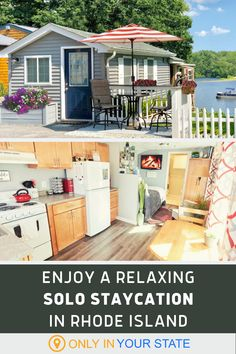 Looking for a relaxing local staycation this summer? Spend the night in a charming tiny home right on the water. Your private cottage has all the amenities you need for a fantastic weekend getaway. Dream Vacation Spots, Vacation Destinations, Vacations, Cozy Cottage, Cottage Style, New England States, Custom Fireplace, Packing Tips, Summer Travel