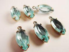 Vintage Aquamarine Unfoiled Navette Rhinestones by brassgoldbeads
