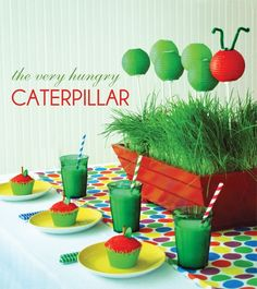 Tables setting for a Very Hungry Caterpillar centerpiece. #birthday #party #veryhungrycaterpillar