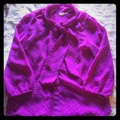 Forever 21 Sheer Swiss Dot Fuchsia Blouse This pretty blouse features a tie around the neck and is sheer so a cami needs to be worn underneath. Comes from a smoke free home. Forever 21 Tops Blouses