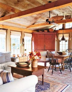 Farmhouse style..dining/living room combo