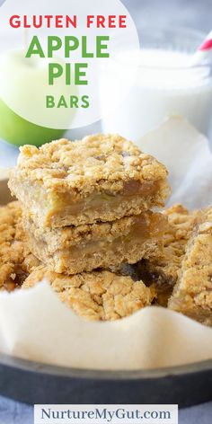 These Homemade Gluten Free Apple Pie Bars are layered with a soft crumbly crust and the inside is filled with a gooey sweet apple pie filling. These desirable Gluten Free Apple Pie Bars are perfect fo Gluten Free Apple Pie, Gluten Free Bars, Gluten Free Deserts, Gluten Free Sweets, Gluten Free Baking, Dairy Free Recipes, Egg Free Desserts, Gluten Free Recipes With Apples, Gluten Free Crumble