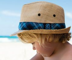 Boys Beebar Fedora. This raffia fedora is perfect for all occasions. It is taupe in colour with with a gorgeous teal check ribbon around the crown.