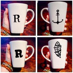 R Coffee Cup DIY Anchor Feather