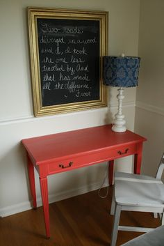 I want a table like this for mail etc. Cool color! Coral Desk in Benjamin Moore Ryan Red