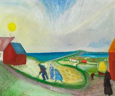 Jens Søndergaard (Danish, 1895-1957), Harvest scene with the sea in the background. Oil on canvas, 130 x 154 cm.
