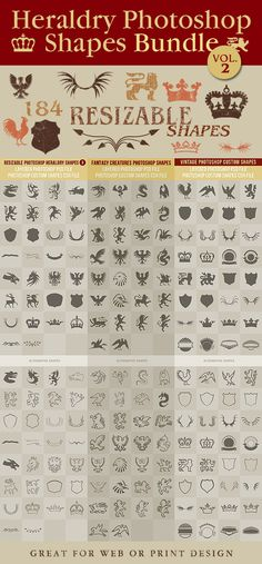 Heraldry Photoshop Shapes Bundle 2 - Symbols Shapes