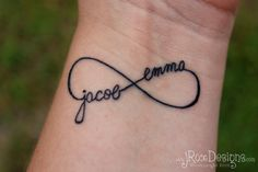 Three or Four Names Custom Infinity Tattoo Design with