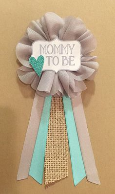 Gray Teal burlap Baby Boy Shower Mommy-to-be Flower Ribbon Pin Corsage Glitter Heart Mommy Mom New Mom Its a boy