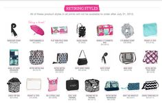 List of Styles retiring July 2015 from Thirty One. Make sure you get yours before they are gone!! WWW.mythirtyone.com/NicoleGreener