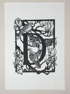"Linocut ABC - ""D is for..."" - Karin Rytter"