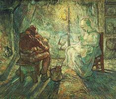 Vincent van Gogh: Evening: The Watch (-after Millet), Oil on canvas. Saint-Remy: Late Ocotober, 1889. Amsterdam: Van Gogh Museum.