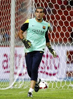 Jose Manuel Pinto of Barcelona runs during a Barcelona FC training session at Bukit Jalil National Stadium on August 9, 2013 in Kuala Lumpur, Malaysia.