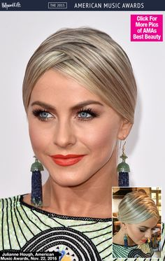 Julianne Hough traded in her go-to tousled lob for a seriously sleek and chic updo at the 2015 American Music Awards on Nov. 22. The 'Dancing With The Stars' performer showed off an insanely cool zigzag part that would the perfect alternative to your usual middle part. See how to copy her exact look below!