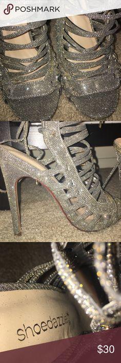 Beautiful metallic strap up heels! Metallic, silver, size 8, strap up ShoeDazzle Shoes Heels