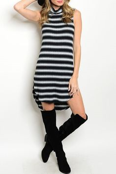 Sleeveless mock neck striped ribbed tunic dress and is so comfortable.  Black/white Striped Dress by Adore Clothes & More. Clothing - Dresses - Casual Washington