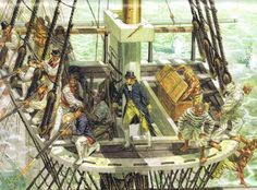 The maintop is often confused with the crow's nest, common to whalers. This is a depiction from the early 1800's, but there would have been little different in the 1750's
