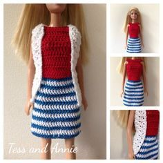 Tess and Annie: Free crochet pattern - Red, white, and blue Barbie outfit