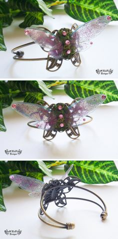 Pink fairy wings butterfly bracelet. Fairy bracelet. Fake moss jewelry. Nature inspired.