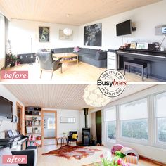 Living room before and after pictures. Staged for sale by Busy Bees