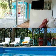 This bright, cheerful turquoise shipping container cabin is perfect for poolside camping in! Alterra Glamping is an all-natural resort near the beach...