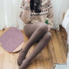 Spring Winter Women Tights Stripe Velvet Hosiery Solid Color Collants Femme Standard Stockings Pantyhose For Woman Gift - 2019 Pantyhose Fashion, Pantyhose Outfits, Nylons And Pantyhose, Fashion Tights, Tights Outfit, Steampunk Fashion, Gothic Fashion, Brown Tights, Black Opaque Tights