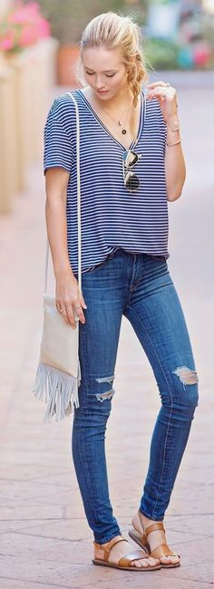 Fabulous Street Style Look Fall 2015 Ripped Jeans Marine Strips Shirt