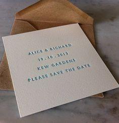 letterpress save the date card by little red press | notonthehighstreet.com