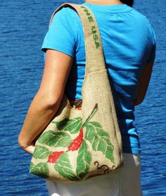 Burlap Hobo Handbag with Kona Coffee Cherry by ManilaExtract, $60.00