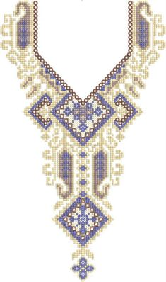 cross stitch Neck / Gala Embroidery Design Cross Stitch Art, Cross Stitch Embroidery, Cross Stitch Patterns, Embroidery Neck Designs, Palestinian Embroidery, Lace Flowers, Aztec, Crochet, Crafts