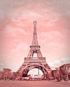 Paris in pink, Eiffel Tower, Paris Decor, France 8 x 10 Fine Art Photography. $25.00, via Etsy.