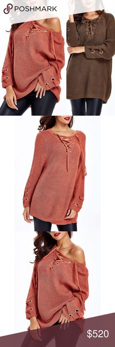 "Coming Soon!! Lace Up Criss Cross Long Sweater Brand new, loose lace up criss-cross long sweater. This listing is for red/orange mahogany. One size fits most  One size fits most Length 26.8"" / Sleeve Length 23.6""   Bundle and save! 💰10% off the purchase of 2 items 💰💰 15% off the purchase of 3+ items   ❓Questions? Please reach out and ask - I'm here to help 😊 Sweaters V-Necks"
