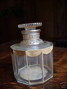 Hand-painted in gold - around Bottle measures tall. Parfum Guerlain, Bottle Box, Vintage Perfume Bottles, Bottle Design, Treasure Chest, Bottle Crafts, Art Nouveau, Third, Fragrance