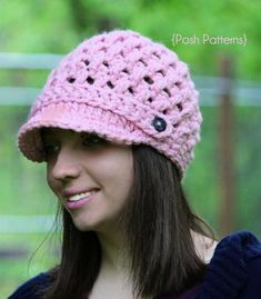 This crochet newsboy hat pattern is a fun and easy project, and features a unique cross stitch design. Crochet Puff Flower, Crochet Cap, Crochet Hooks, Unique Crochet, Crochet Ideas, Crochet Tutorials, Crochet Projects, Lace Patterns, Crochet Patterns