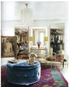 Oh...please be my dressing room & I'll take the little dog too :) Love that ottoman! Bohemian style room